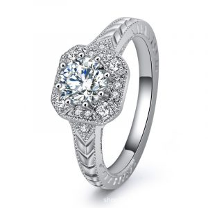 Luxury Women's Sterling Silver Wedding Bands With Cubic Zirconia Engagement Rings For Women