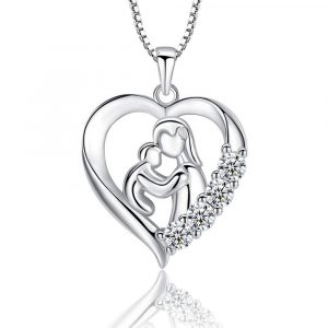 Mother's Day 925 Sterling Silver Heart Pendant Necklace Mother and Child Theme Jewelry