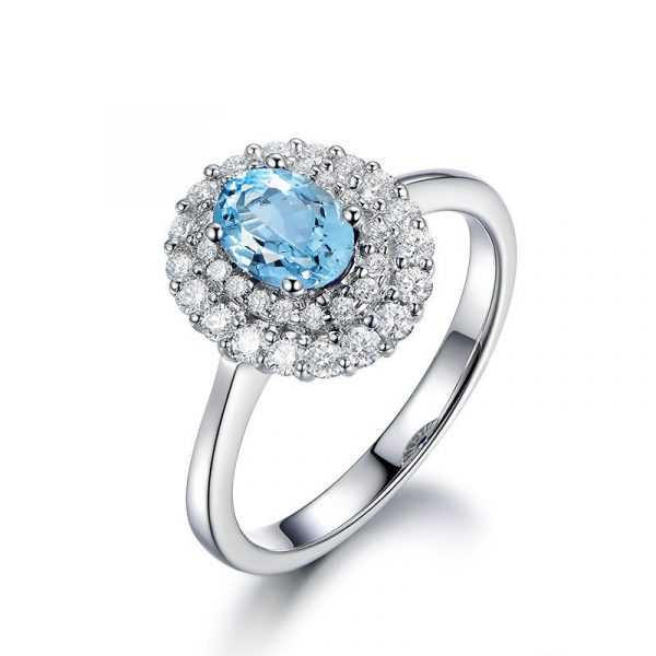 Topaz Blue Color Cubic Zirconia Rhodium Plated Silver Engagement Rings For Women