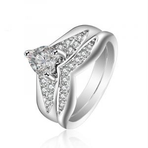 American Hot Sale 925 Sterling Silver V Shape Bridal Ring Wedding Ring Set Wholesales
