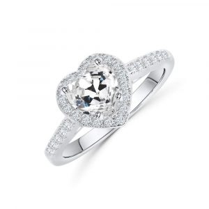 Wholesale Fashion European Genuine 925 Sterling Silver Cubic Zirconia Heart Ring For Womens