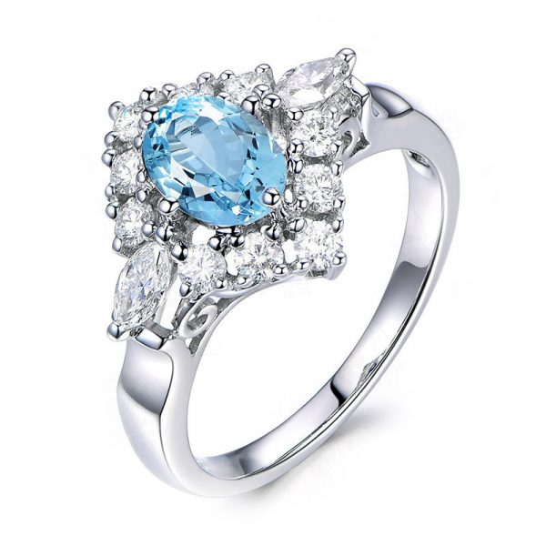 Wholesale Genuine 925 Sterling Silver Engagement Rings With Topaz Blue Color Cubic Zirconia