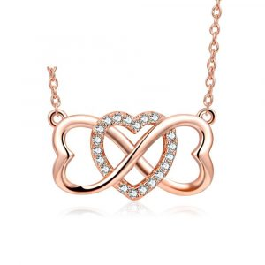 925 Sterling Silver Cubic Zirconia rose gold heart necklace infinity heart necklace