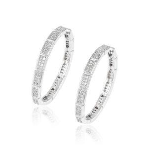 Cheap Wholesale 925 Sterling Silver Hoop Earrings CZ Diamond Earring Hoops