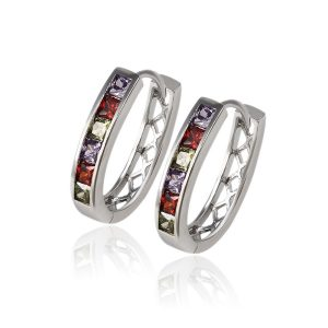 Europe Popular Colorful Gemstone Inlayed Sterling Silver Hoops For Women