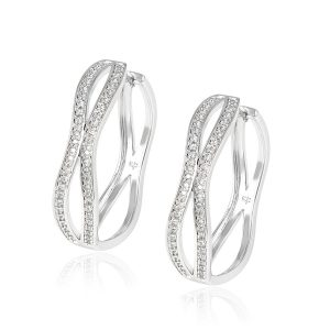 Fashion High Quality ltaly Jewelry Hollowed-up Design Bridal Sterling Silver Hoops