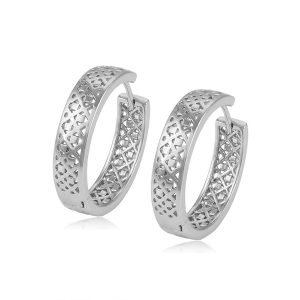 Fashion Jewelry Made In China Wholesale Simple Hollowed Rhodium Plated Hoop Earring