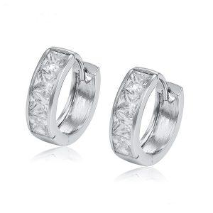 Fashion Women Gemstone Jewelry Huggie Earring Cubic Zircon 925 Silver Hoop Earrings