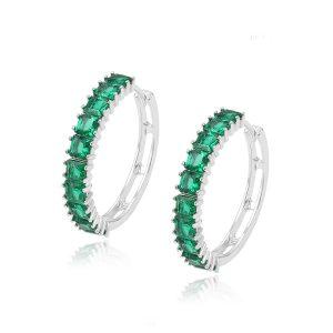 Guangzhou Factory Colorful Hoop Indian Style Hoop Earrings Gemstone Sterling Silver Hoops