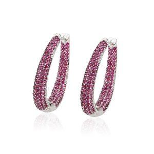 Luxury Gem Stones Mosaic Zircon Artificial Diamond Hoop Earring For Women Jewelry