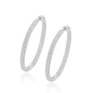 Luxury Women's Round Hoop Earrings Setting With Zircon Large Sterling Silver Hoops