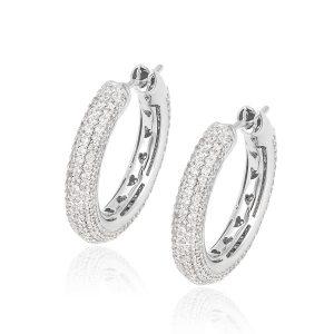 Luxury Zircon Artificial Diamond Hoop Earrings Micro Pave Gemstone Huggie Hoop Earrings