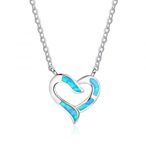 925 Sterling Silver Blue Opal Heart Necklace For Wedding Bridesmaid Gift Girls Birthday Opal Pendant Necklace Jewelry