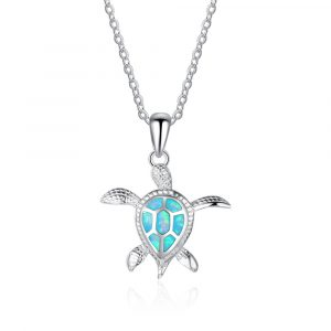"High-end craft 925 sterling silver fashion blue opal sea turtle pendant necklaces for women lady animal wedding ocean beach jewelry. Sold very well in Europe, America and Australia market. It's a delicate gift for Mother's Day, Valentine's Day, Christmas, Anniversary and Engagement. All ring come with ""S925"" stamped as symbols of genuine silver guaranteed."