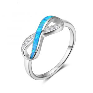 925 Sterling Silver Jewelry Women Blue Fire Opal Infinity Ring Rhodium Plated Infinity Rings For Girls