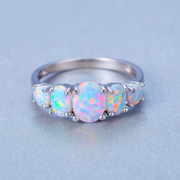 925 Sterling Silver Opal Rings Design For Women Hot Selling Fire Opal Engagement Rings