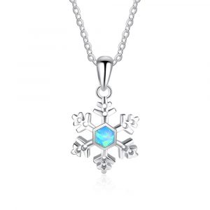 925 Sterling Silver Snow Opal Charm Pendant Necklace For Women Christmas Jewelry Gift Opal Necklace
