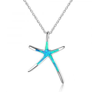 925 Sterling Silver Starfish Opal Pendent Necklace Rhodium Plated 18 Inches Necklace Opal Stone Jewelry Gift