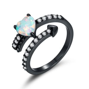 Accept OEMODM China Jewelry Wholesale Sterling Silver Opal Heart Ring For Sale