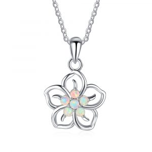 Amazon 925 Sterling Silver Jewelry Created Blue Opal Pendant Necklace Flower Women Opal Necklace