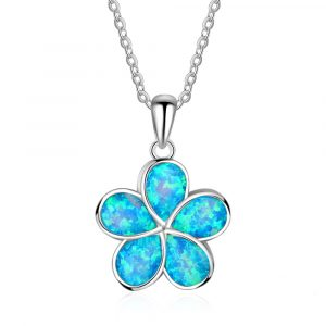 Amazon Hot Sale 925 Sterling Silver Blue Inlay Opal Hawaiian Flower Charm Pendant Blue Opal Necklace