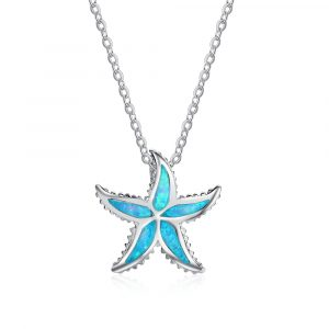Beach Necklace 925 Sterling Silver Opal Stone Sea Star Pendant Necklace For Girls