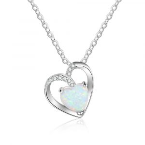 Beautiful Nice Delicate Opal Birthstone Necklace Opal Heart Necklace Jewelry Gifts For Women