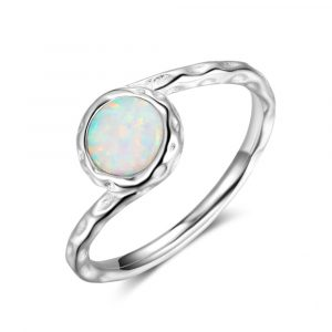 Best Selling Rhodium Plated 925 Sterling Silver Dainty Opal Ring Opal Wedding Rings For Women