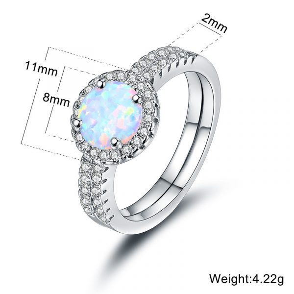Best Selling Rhodium Plated 925 Sterling Silver Opal Wedding Rings Stackable Wedding Band Sets For Bridal