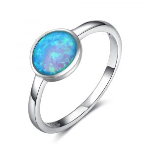 Best Selling Round Shaped Blue Fire Opal Ring Charm Jewelry Silver Ring 925 Opal Band