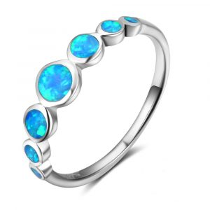Best Selling Round Shaped Blue Fire Opal Ring Charm Jewelry Silver Ring 925 Solid Opal Ring