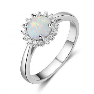 Best Selling Round Shaped Opal Ring Charm Jewelry Silver Ring 925 Opal Band