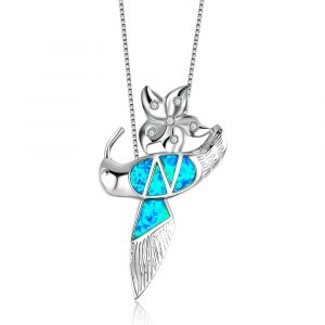 Blue Fire Opal Necklace 925 Sterling Silver Hummingbird Pendant Charm Pendant Necklace Jewelry Wholesale