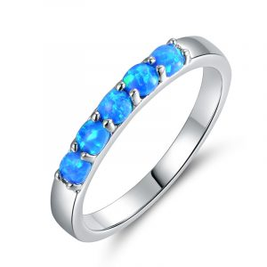 Cheap Wholesale 925 Sterling Silver Custom Opal Band Rings Simple Opal Ring