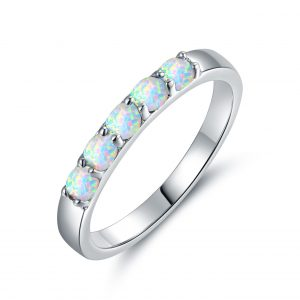 China Jewelry Wholesale 925 Sterling Silver Opal Ring With Rhodium Plating Opal Rings For Sale