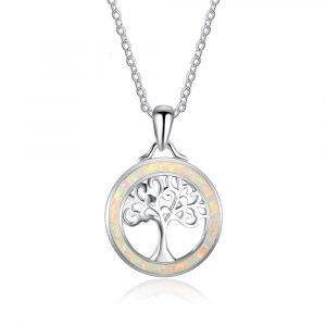 Custom 925 Sterling Silver Opal Gemstone Tree Of Life Daily Jewelry Necklace For Women Latest Design Opal Necklace
