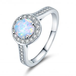 Europe Popular 925 Sterling Silver Opal Promise Rings Opal Wedding Rings For Women