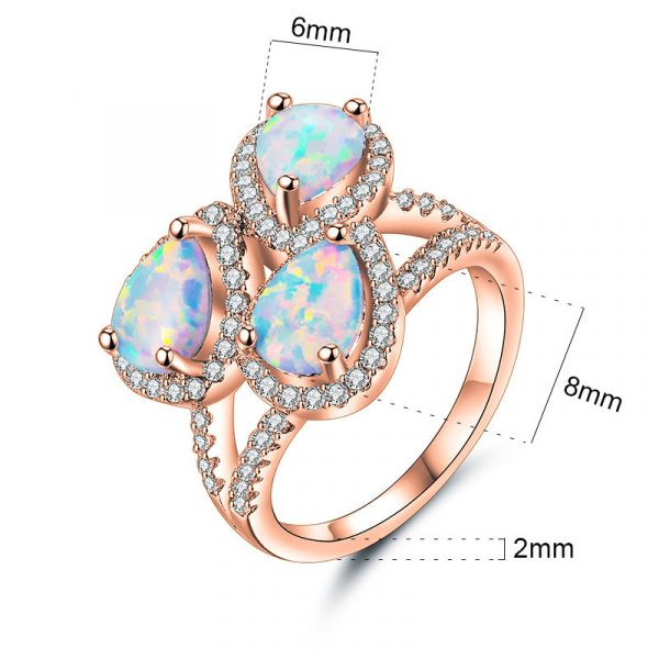European Hot Sale Three Stone Pear Shaped Opal Ring Teardrop Opal Ring With Rose Gold Plating