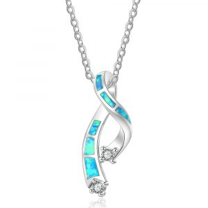 European New Trendy Bohemian Sapphire Blue Opal Necklace Silver 925 Sterling Silver Twisted Necklaces For Women Jewelry