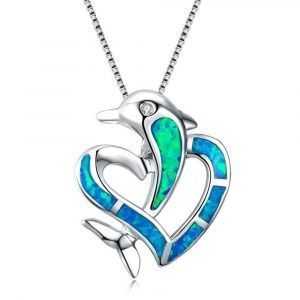 Fashion 925 Sterling Silver Jewellery Dolphin Blue Opal Heart Necklace Hotsale Walmart Opal Necklace