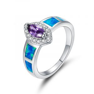Fashion Genuine 925 Sterling Silver Opal And Amethyst Ring Sterling Silver Rings For Sale