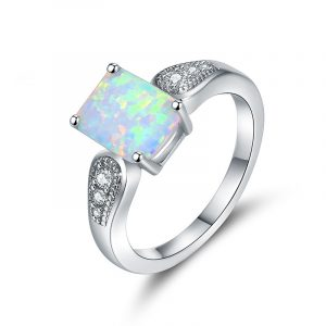 Fashion Silver Opal Engagement Rings For Women With AAA Cubic Zirconia