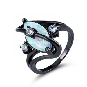 Guangzhou Factory 925 Sterling Silver Solid Opal Ring Black Opal Wedding Rings