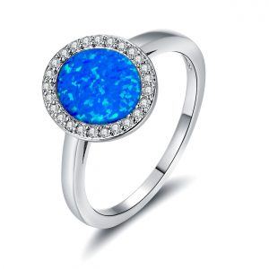 High Quality 925 Sterling Silver Blue Opal Engagement Rings Opal Wedding Rings For Women