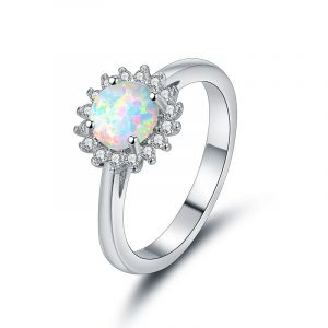 High Quality Large Stone 925 Stamped Sterling Silver Dainty Opal Ring For Women Wholesale
