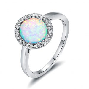 High Quality Large Stone 925 Stamped Sterling Silver Opal Engagement Ring For Women Wholesale