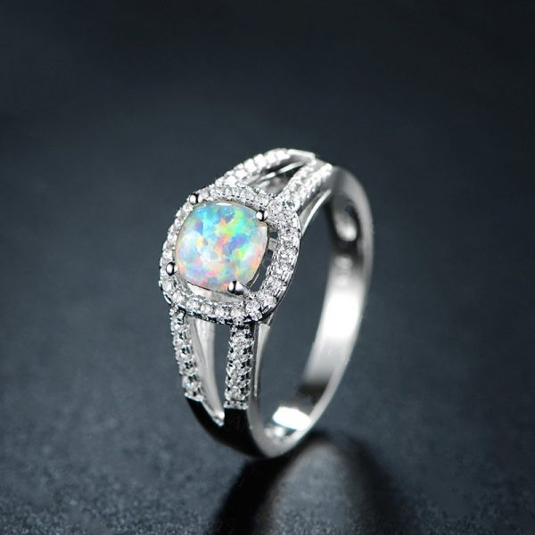 High quality 925 Sterling Silver Opal Promise Rings OEM Service For Fire Opal Engagement Rings