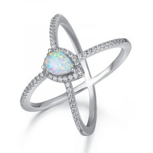 Latest Fashion Rhodium Plating 925 Sterling Silver Custom Opal Band Rings Simple Opal Ring