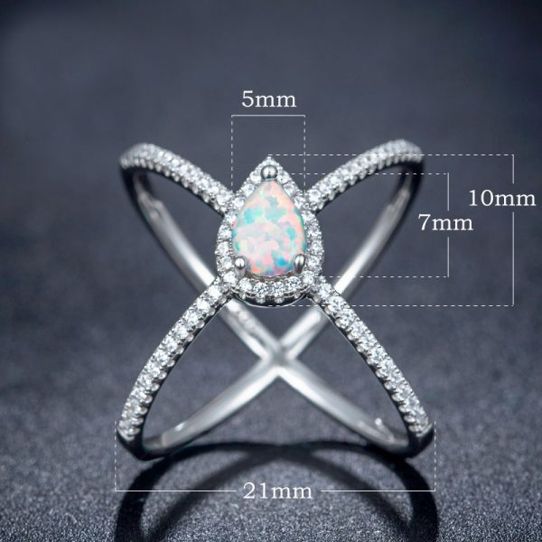 Latest Fashion Rhodium Plating 925 Sterling Silver Custom Opal Band Rings Simple Opal Ring