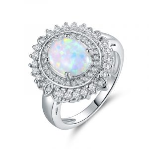 Luxury Women's Sterling Silver Opal Promise Rings With Cubic Zirconia Opal Engagement Ring For Women